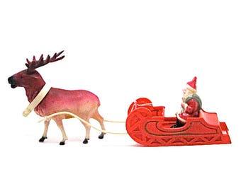 Vintage Celluloid Santa Sleigh, Celluloid Santa Claus and Reindeer, Japan,  Kris Kringle, 13 1/2 Inch Long, 1940