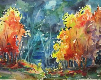 Autumn Trees, Print of Original Watercolor Landscape Painting, watercolor art, watercolor print, Fall Forest painting, Autumn Landscape
