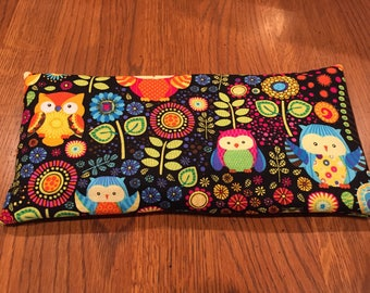 Aromatherapy eye pillow/bag - yoga-relaxation-meditation-sleep-washable cover-savasana-hot/cold pack-organic lavender/peppermint owls
