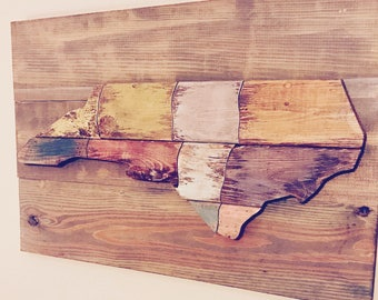 Rustic Colorful NC Sign North Carolina Wooden Wall Art Sign and Wall Decor with l