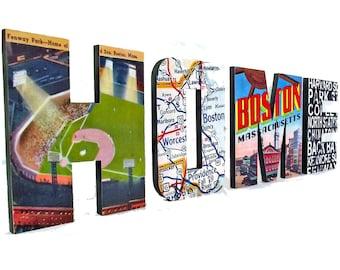 Boston HOME sign, Custom Boston Wood Sign, Boston Decor, Wooden Letter Signs, Boston Art, Housewarming Gift, Newlywed Gift, Boston Strong