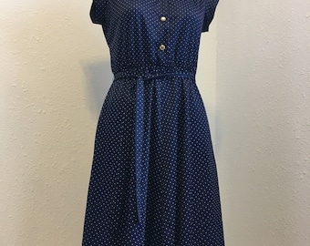 navy blue vintage dress, white polka dot polyester dress, Vintage Clothing