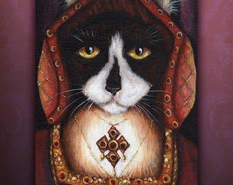 Catherine Aragon Cat, Tudor Cats, King Henry VIII Wives, Tuxedo Cat 5x7 Art Print