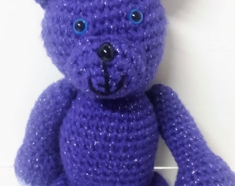 Teddy Bear/Purple Teddy Bear/Amigurumi/Moveable Arms and Legs/Plush Bear/Stuffed Teddy Bear/Stuffed Bear/Plush Teddy Bear/Soft Teddy Bear/To