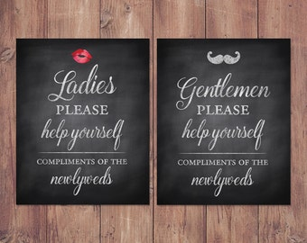 Wedding Bathroom Basket Signs   Womens And Mens Hospitality Basket   His  And Hers Bathroom Signs