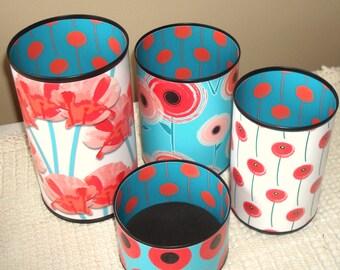 Coral Turquoise Teal Poppy Desk Accessories and Coaster / Pencil Holder / Pencil Cup / Desk Organizer / Office Decor / Dorm Decor - 917