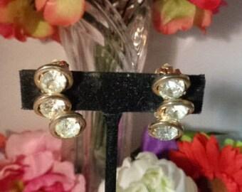 Vintage JUDY LEE Goldtone Rhinestone Earrings Set in Gold Tone Metal - a pair of True Vintage Hollywood!