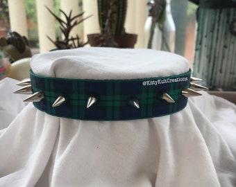 Blue Tartan Spiked Collar