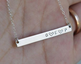 Skinny Bar Necklace/ Gold Filled Custom Hand Stamped Necklace/Nameplate Necklace/ Personalized Jewelry/Sterling Silver/ Gift for Wife/ N255