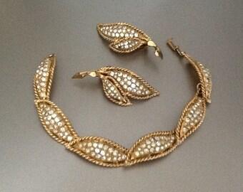 Hattie Canegie vintage rhinestone bracelet and earrings, vintage 1950s
