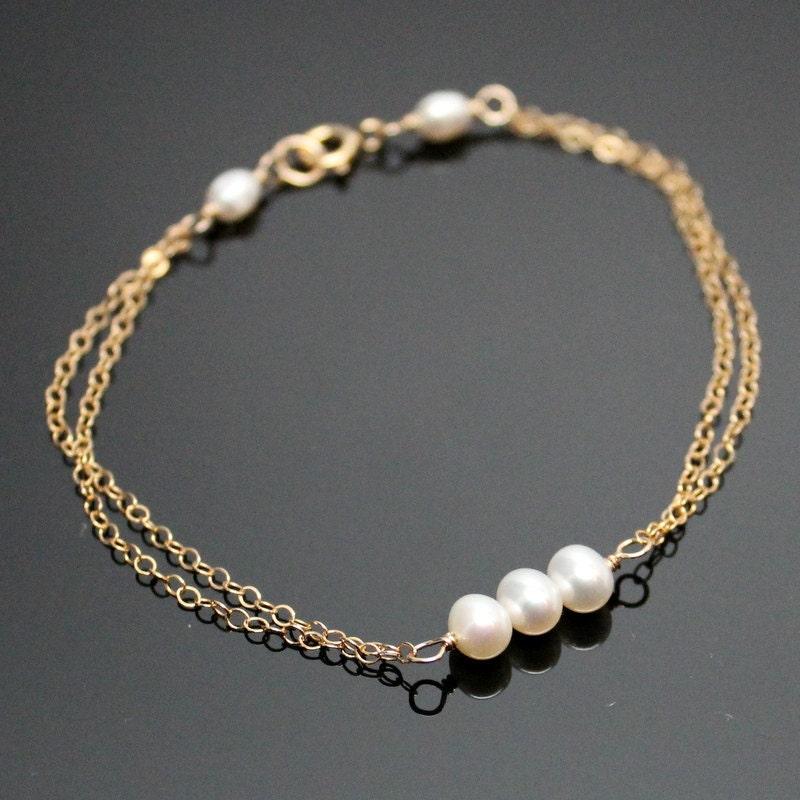 Gold PEARL Bracelet Simple Pearl Bracelet Past Present and