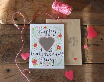 Scratch-Off Happy Valentines Day card // Scratch off paint // Valentines Anniversary // Illustrated Blank Card