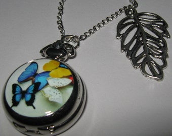 CLEARANCE  Butterfly  Pocket Watch Necklace