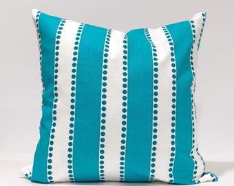 "LuLu Stripe True Turquoise  and White Home Decor Throw Pillowcase, Lumbar Pillow Cover, 12x18"" and more different sizes available"