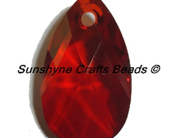 Swarovski Crystal Beads 6106 CRYSTAL RED MAGMA 22MM Pear Shaped Pendant 1 Pc