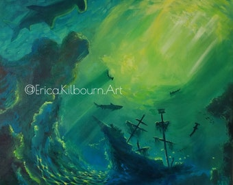 """Acrylic Painting """"Hammerhead""""   Giclee Fine Art Print   Original Art Reproduction with Archival Inks   FREE SHIPPING"""