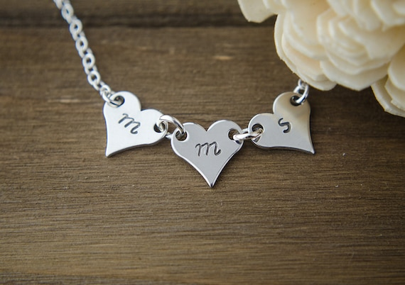 Three Initials Necklace   Silver 1 2 3 4 5 Letters   Hand Stamped Personalized Jewelry   Silver Monogram   Mom of 3   Mother's Day Gift
