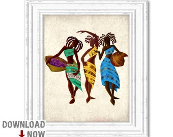 African Tribal Women, African Women, Wall Art, Instant Download, Digital Downloadable Print, Ethnic Decor Printable Poster, Typography 4