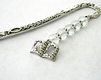 Bible Bookmark with Clear Glass Beads Silver Color Shepherd Hook Christian Bookmark