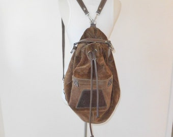 Rare 'Rugby' Leather and Suede Backpack / Rucksack / Top Handle Duffle Bag
