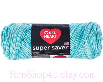 TOPAZ Red Heart Super Saver, Shades of Blue Multi color Acrylic yarn, 5oz, Blue Rainbow Ombre, Light Blue Variegated, medium economy yarn