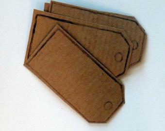 10er Set hand gedruckten Parzelle Tag Kraft Papier Sticker in Kraft braun.  Selbst Klebeetiketten, Geschenkanhänger, Exlibris, Verpackung, home-office