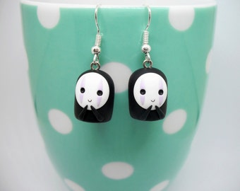 No Face from Spirited Away polymer clay earrings