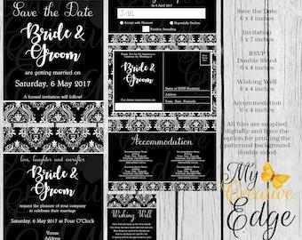Damask Wedding Invitation Set - Digital Files Only