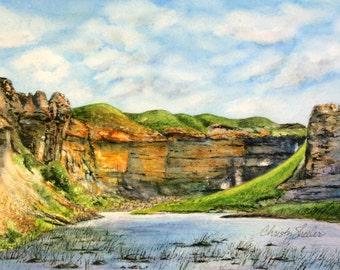 Rock City Riverscape Original Watercolor Painting Montana landscape Christy Sheeler rock canyon river grassy hills home decor artwork
