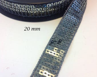 Ribbon lace sequins glitter 20 mm steel grey
