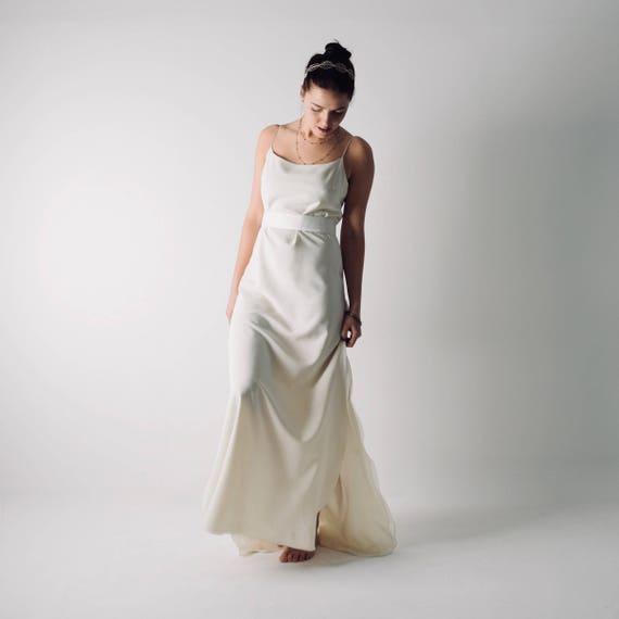 Rutschen Sie Seide Hochzeitskleid Strand Brautkleid lässig