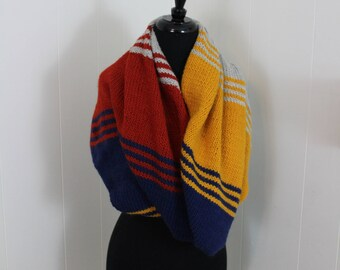 Zebulon Infinity Cowl / Fashion Wrap / Navy and Mustard Knitted Cowl / Navy Knitted Wrap