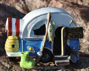 Grumpy Old Bear Camper for Miniature Garden, Fairy Garden