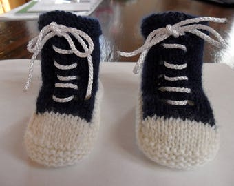 Navy blue wool baby shoes and white like basketball