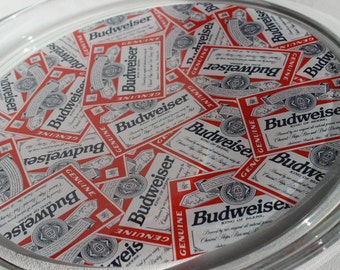 Vintage Budweiser Label Glass Serving Tray Anheiser Busch Superbowl Party Breweriana