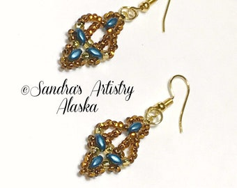 Beaded Earrings in Copper-Teal-Gold (Handmade and Designed)