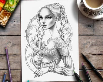 Coloring Page | Grayscale Coloring | Greyscale illustration art | Zan Von Zed