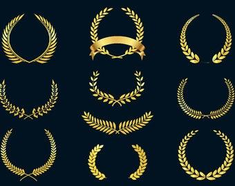 Golden Laurel Wreath SVG,PNG,eps/Award Badges/Laurel Monogram Frame/Laurel Frame/printable/circuit cut file/high quality