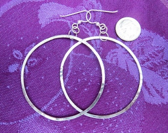 Large Hand Forged Silver Hoop Dangle Earrings
