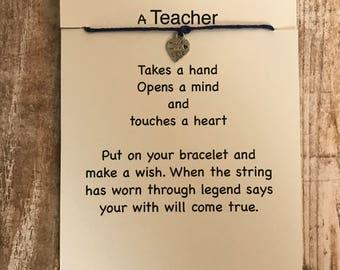 Teacher Gift,Teacher Wish Bracelet,Teacher Jewelry,Teacher Thank you,Teacher Appreciation Gifts,Wish Bracelets, Made With Love Wish Bracelet