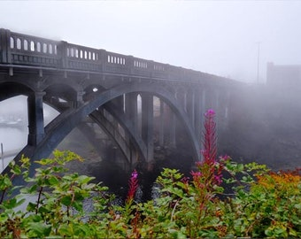 Misty bridge photo, HDR photograph, Grey, green, and magenta, fine photography prints, Depoe by Morning