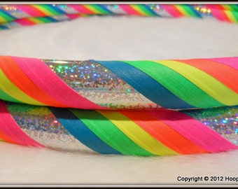 TOP SELLER - 'Silver Sparkle Rainbow Mantra' - Fully Customizable Travel Hula Hoop - UV Reactive // Glows in Black Light.