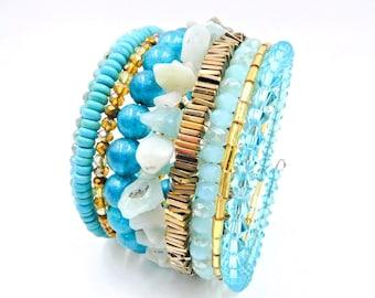 Turquoise bracelet, Turquoise and gold bracelet, memory wire bracelet, memory wire wrap bracelet, turquoise and gold beaded bracelet