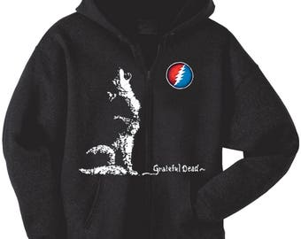 Grateful Dead Hoodie- Howling Dire Wolf/ Heavyweight Zip Up Hoodie/13 point lightning bolt/