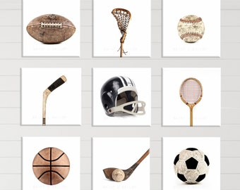 White Background Square Format Sports Collection Set of Nine Canvas Prints  Ready to Hang, Vintage Sports Nursery, Rustic Sports Decor