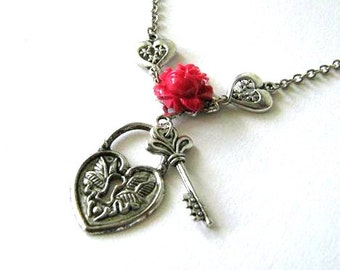 Key to my heart necklace red rose jewelry lock and key necklace antiqued silver