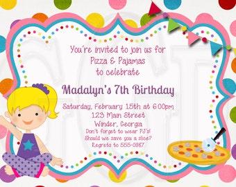 Pajama and Pizza Party Invitation,  pj pizza invite, pj pizza birthday, pajama party invite, pj party, pj birthday  - Digital File