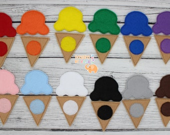 Ice cream cone color matching game, kids games, busy bags, travel game, educational toys, toddler gift, toddler activity, preschool learning