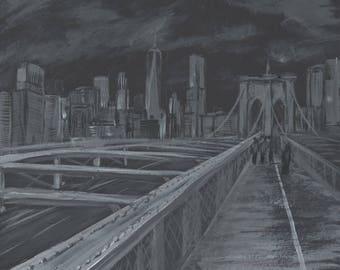 Brooklyn Bridge, New York, Black and White, Acrylic, America, Original Artwork
