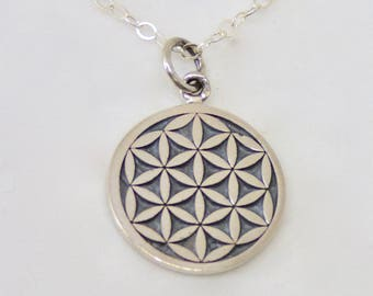 Sterling Silver Flower of Life Necklace, Flower of Life Jewelry, Flower of Life Charm, Spiritual Jewelry, Yoga Necklace Sacred, Graduation